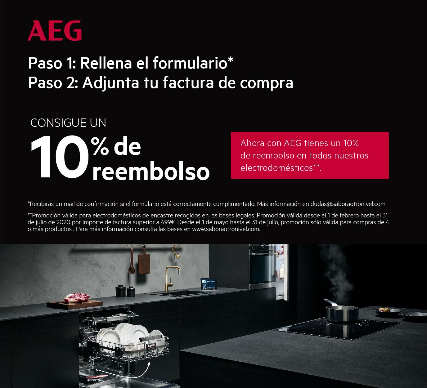 Compra uno de los modelos de la gama encastre de AEG que entran en promoción, podrás llevarte un Reembolso del 10% de tu compra