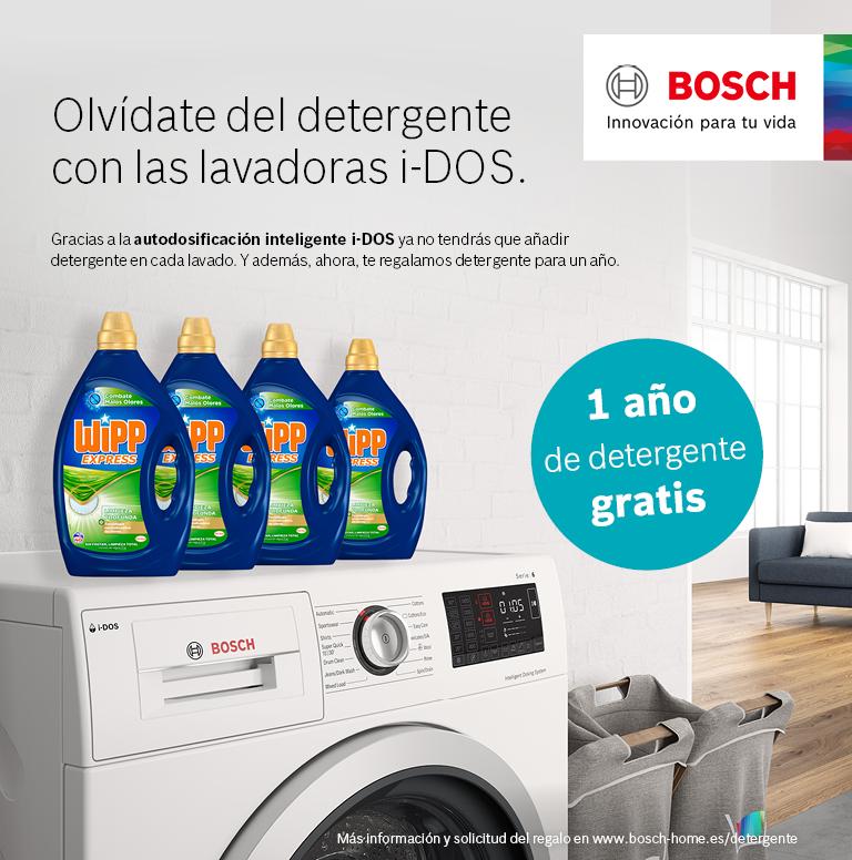 Compra tu lavadora i-DOS o lavadora-secadora 10/6 kg de la marca Bosch y llévate un pack de detergente para un año