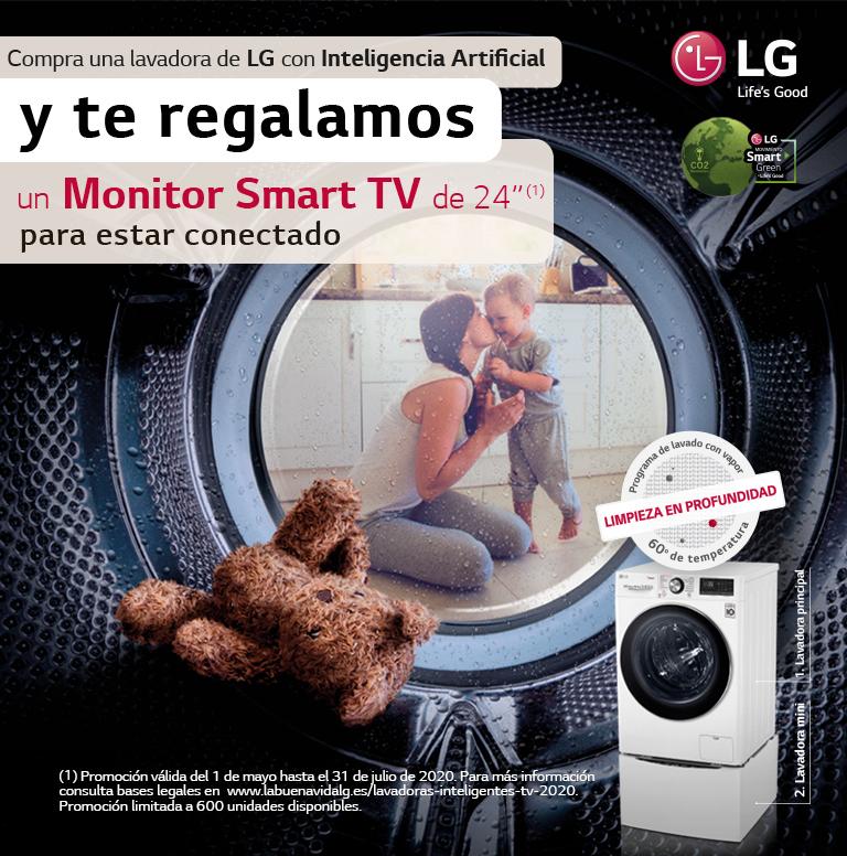 Compra tu Lavadora LG con Inteligencia Artificial y consigue un monitor Smart TV