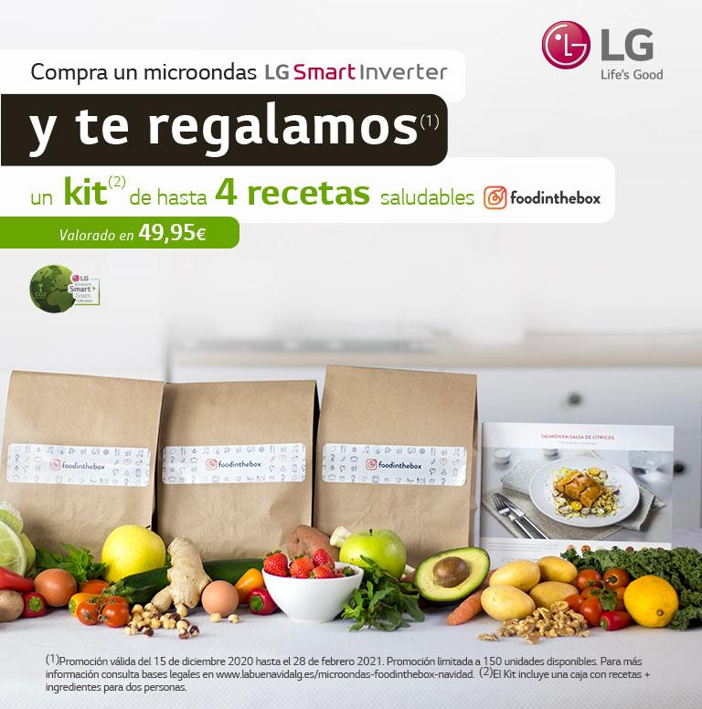 Llévate hasta 4 recetas en FOODINTHEBOX por la compra de un microondas LG.