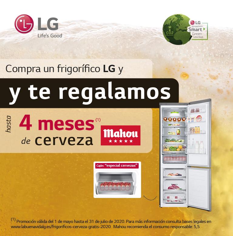 Compra tu frigorífico LG y consigue hasta 4 meses de cerveza Mahou gratis