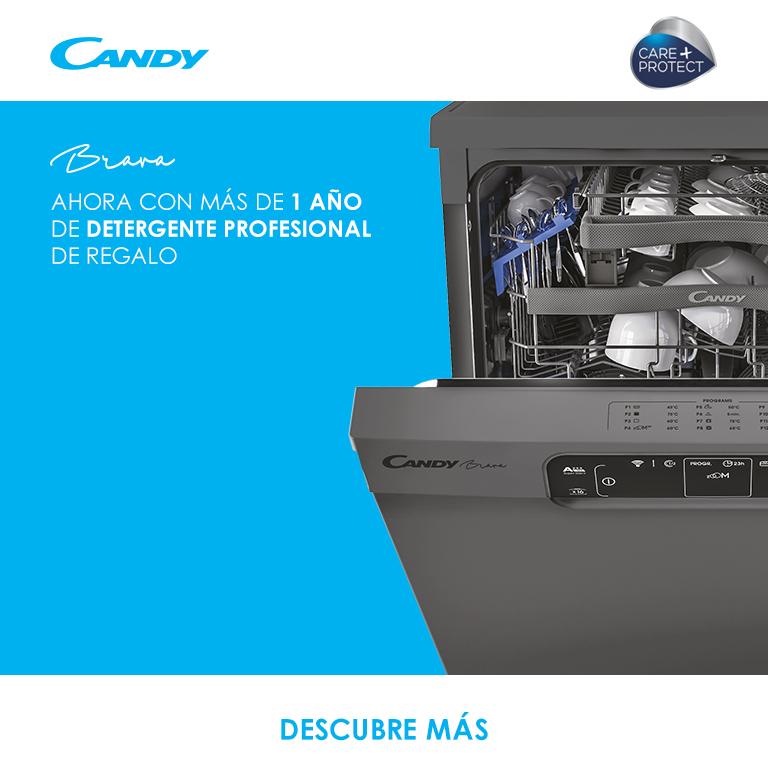 Compra un lavavajillas de la gama BRAVA de Candy  y llévate MÁS DE 1 AÑO DE DETERGENTE PROFESIONAL DE REGALO