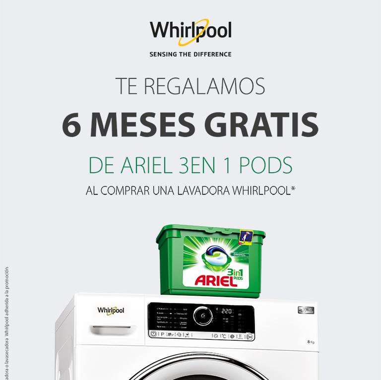 Compra tu Lavadora Whirlpool y consigue 6 meses gratis de detergente