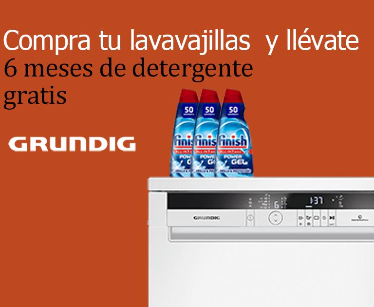 Compra tu Lavavajillas Grundig y consigue 6 meses gratis de detergente Finish