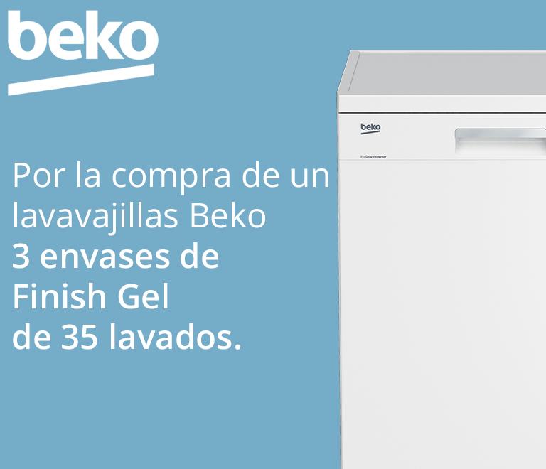 Compra tu Lavavajillas BEKO y consigue 3 envases de Finish Gel de 35 lavados cada uno, equivalentes a 6 meses de duración