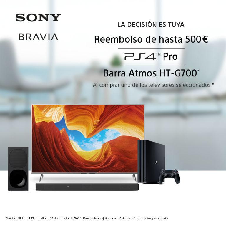 Llévate hasta 500€ de reembolso, una PS4 Pro o una Barra de Sonido HT-G700 por la compra de tu Televisor SONY