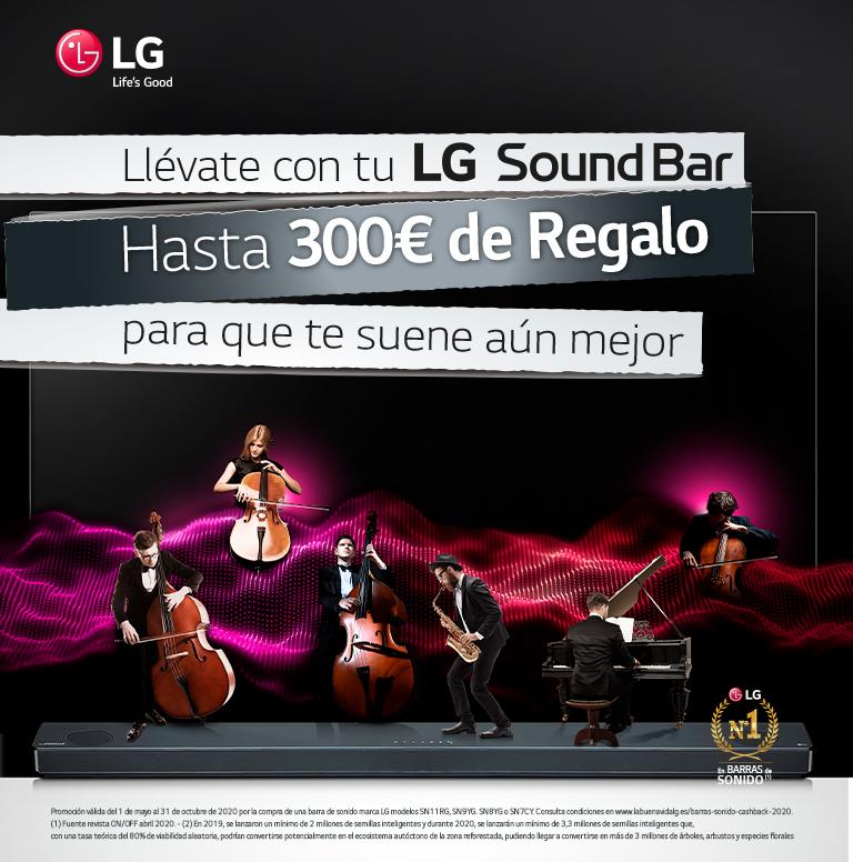 Consigue hasta 300€ de reembolso por la compra de tu Barra de Sonido LG
