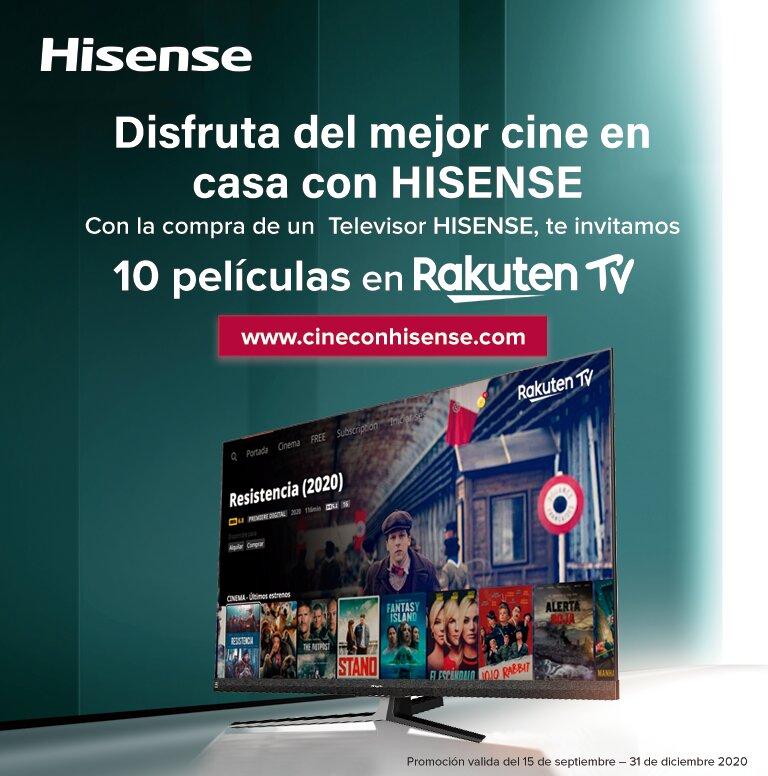 Consigue 10 películas Rakuten TV por la compra de tu Televisor Hisense