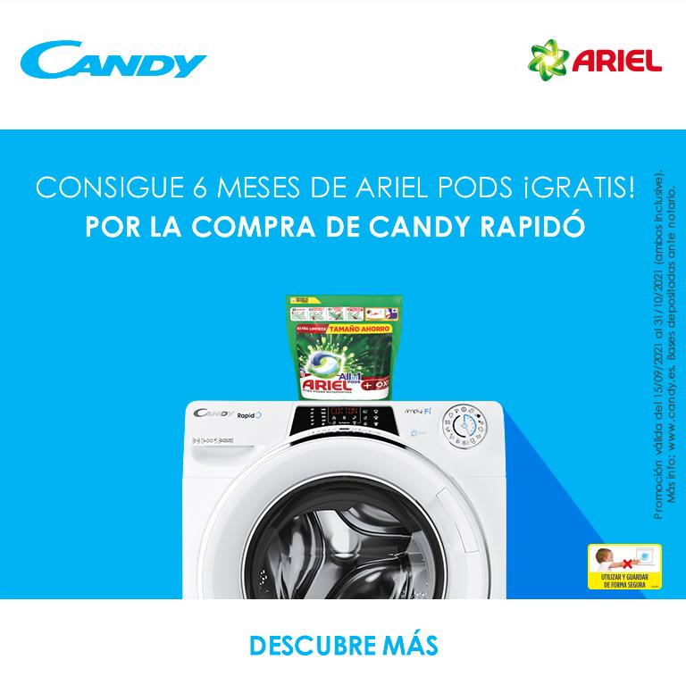 Llévate 6 meses de Ariel Pods de regalo por la compra de tu lavadora Rapido Candy