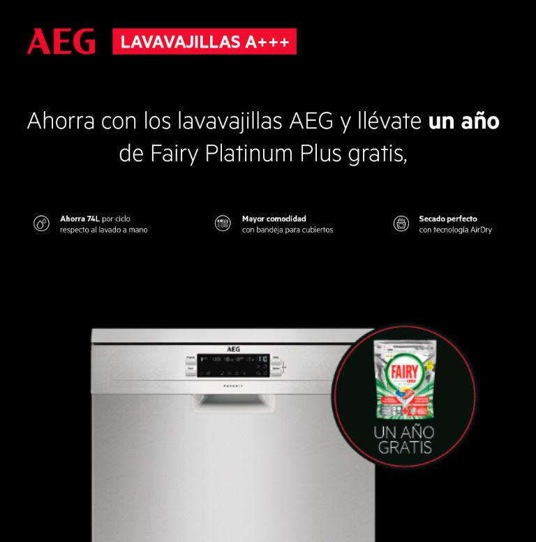 Compra un lavavajillas A+++ AEG y consigue un año de detergente Fairy Platinum Plus gratis