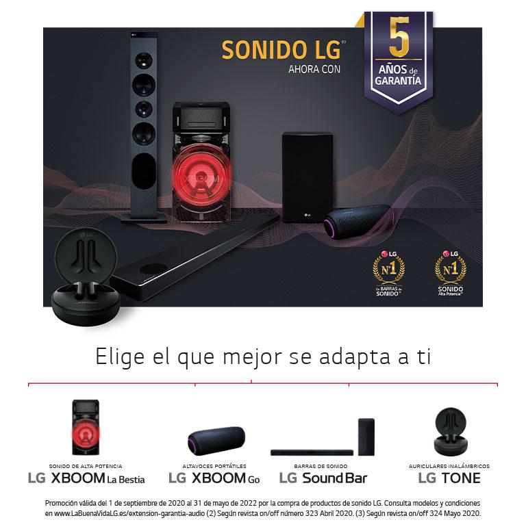 Llévate 5 años de garantía por la compra de tu producto de audio LG