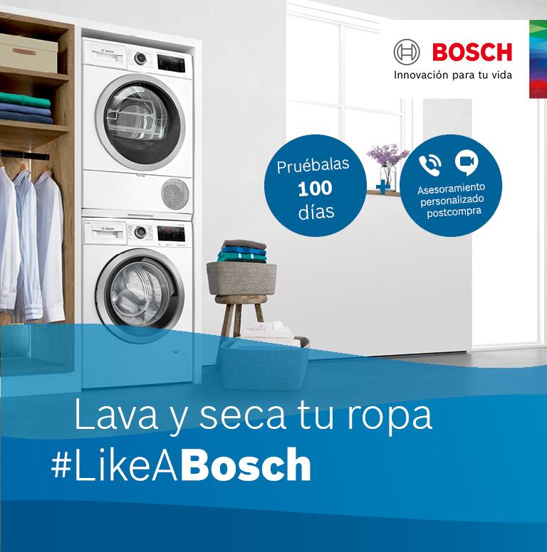 Llévate asesoramiento gratuito postcompra y 100 días de prueba por la compra de tu lavasecadora o conjunto de lavadora y secadora Bosch