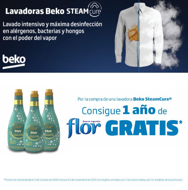 Llévate 1 año de suavizante Flor de regalo por la compra de tu lavadora SteamCure Beko