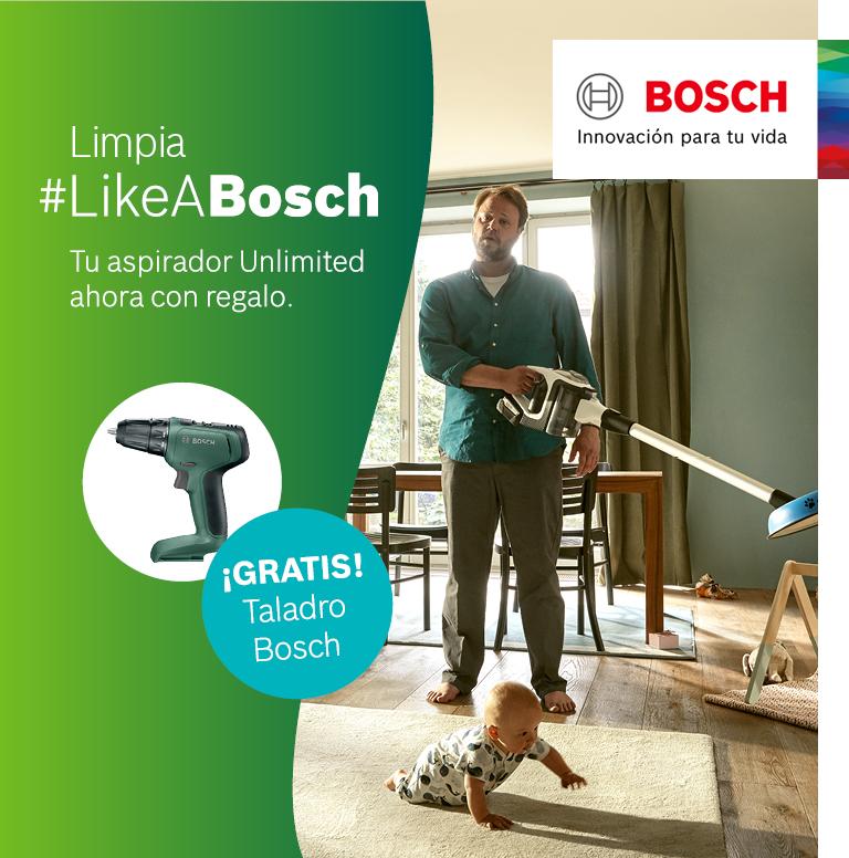 Llévate una atornilladora taladradora de regalo con la compra de un aspirador Unlimited Bosch
