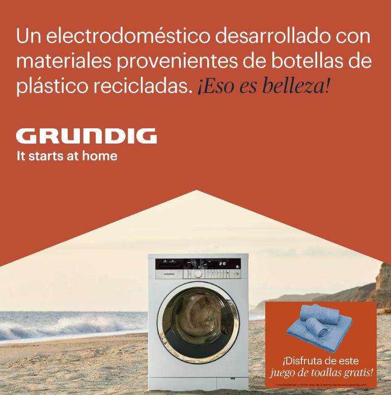 Llévate un juego de toallas de regalo por la compra de lavadora, secadora o lavasecadora Grundig