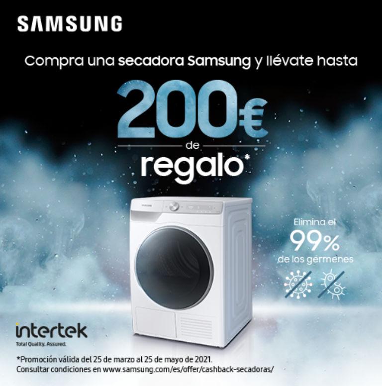 Llévate un reembolso de hasta 200€ por la compra de tu secadora Samsung