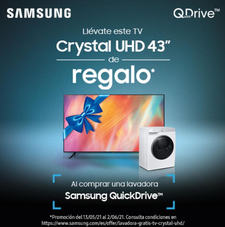Llévate una televisión de 43 pulgadas por la compra de tu lavadora Samsung