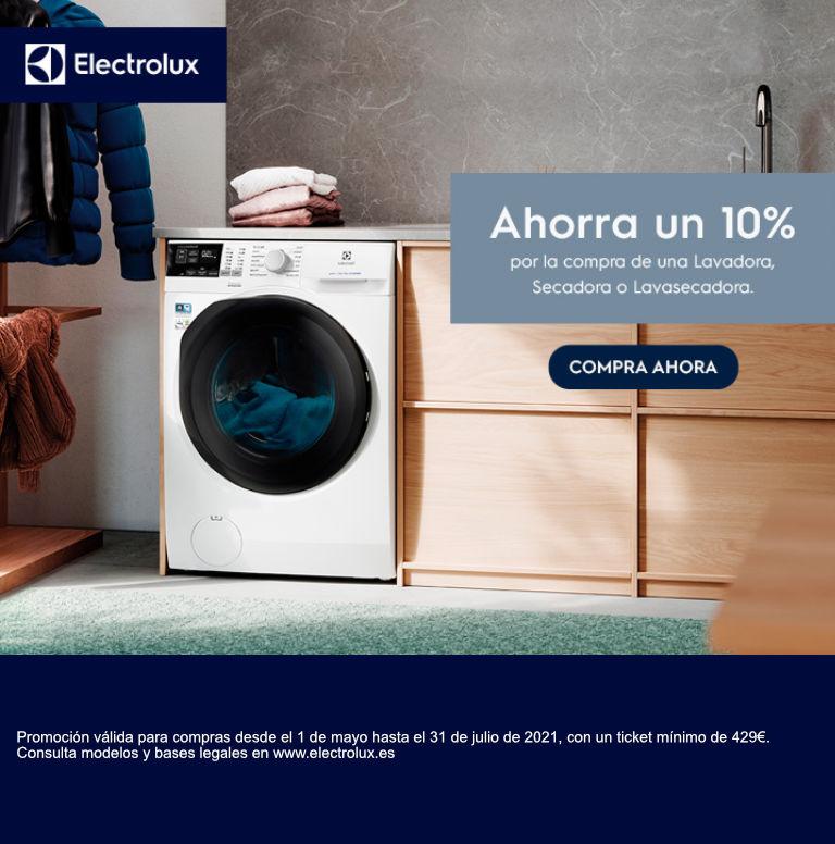 Llévate un 10% de reembolso por la compra de tu lavadora, lavasecadora o secadora Electrolux