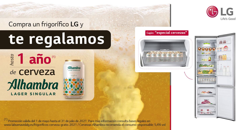 Llévate hasta 1 año de cerveza Alhambra por la compra de tu frigorífico LG