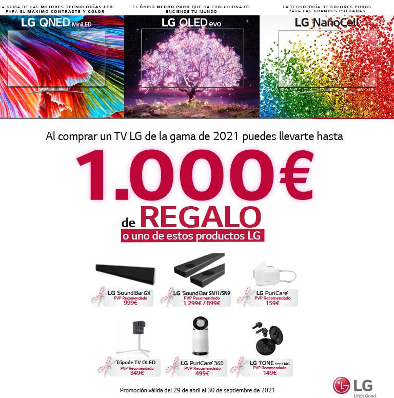 Llévate un reembolso determinado o un producto por la compra de tu televisor OLED, QNED o Nanocell LG