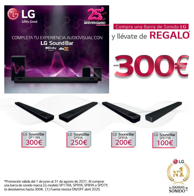 Llévate un reembolso de hasta 300 euros por la compra de tu Barra de Sonido LG