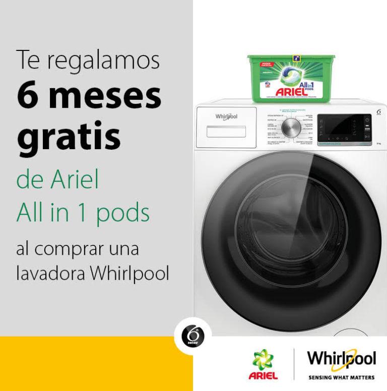Llévate 6 meses de detergente por la compra de tu lavadora Whirlpool