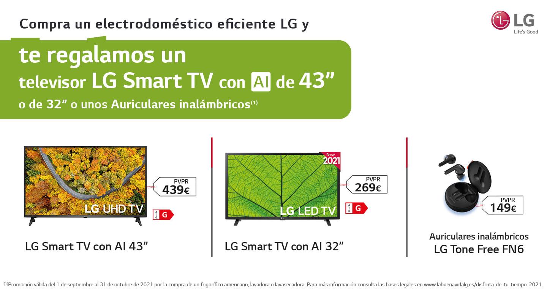 Llévate un televisor LG Smart TV de hasta 43 pulgadas o unos auriculares por la compra de tu electrodoméstico eficiente LG
