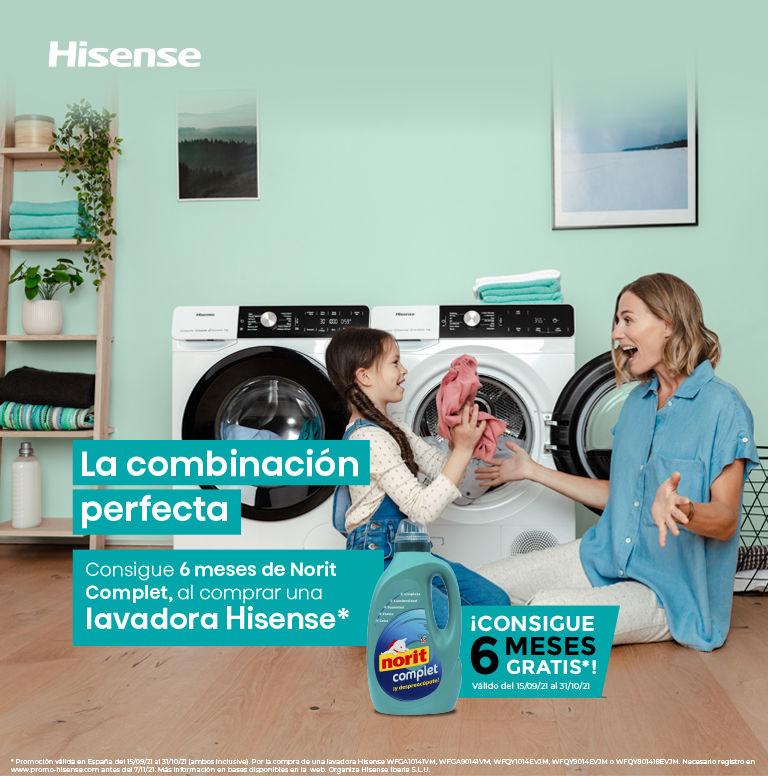 Llévate 6 meses de Norit por la compra de tu lavadora Hisense