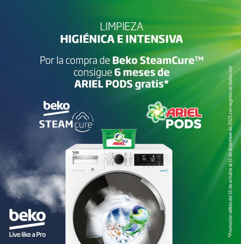 Llévate 6 meses de Ariel Pods por la compra de tu lavadora Beko